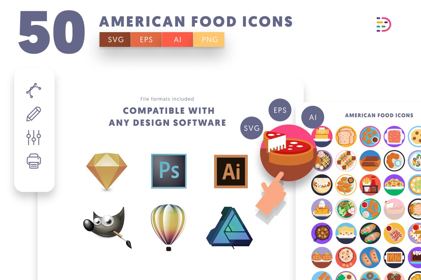 full vector 50 American Food Icons EPS, SVG, PNG