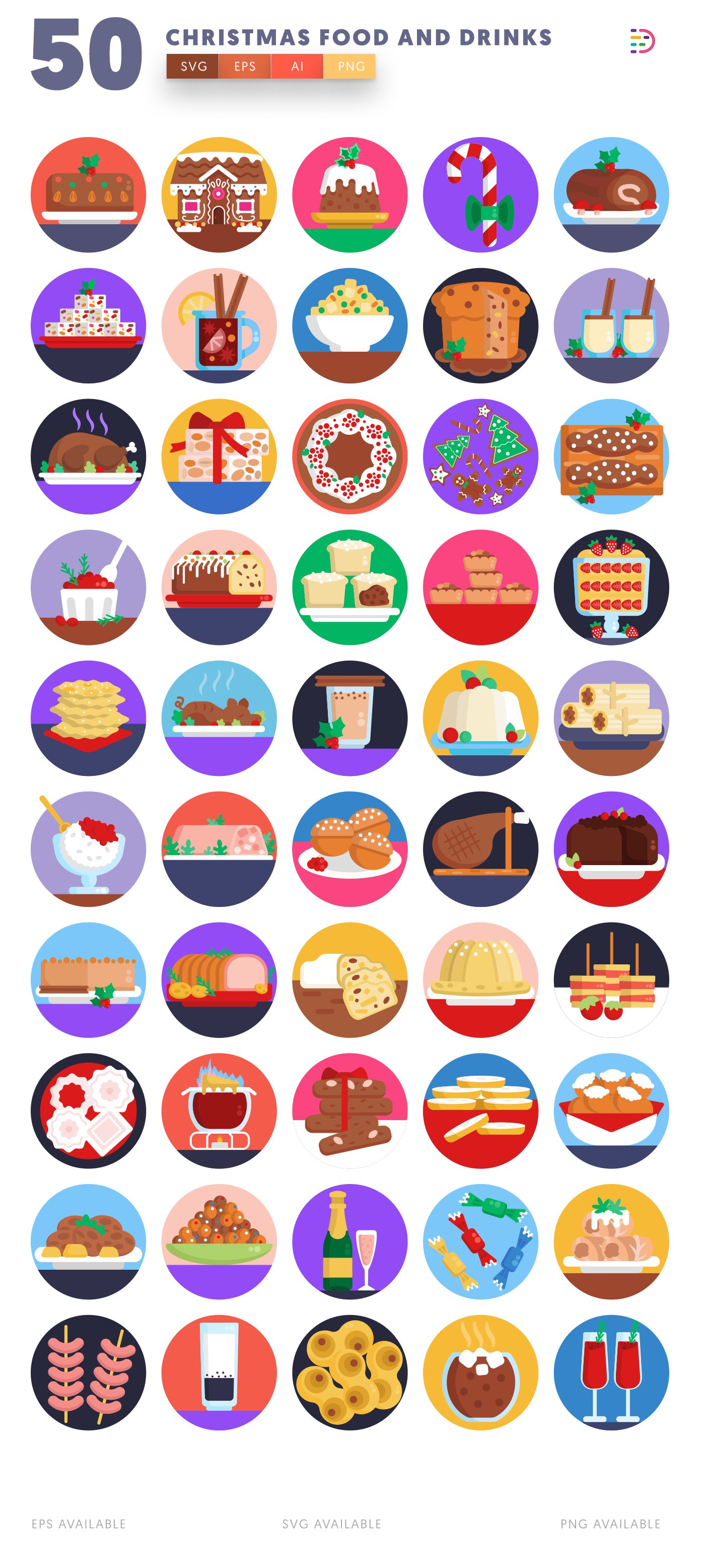Christmas Food and Drinks icon pack