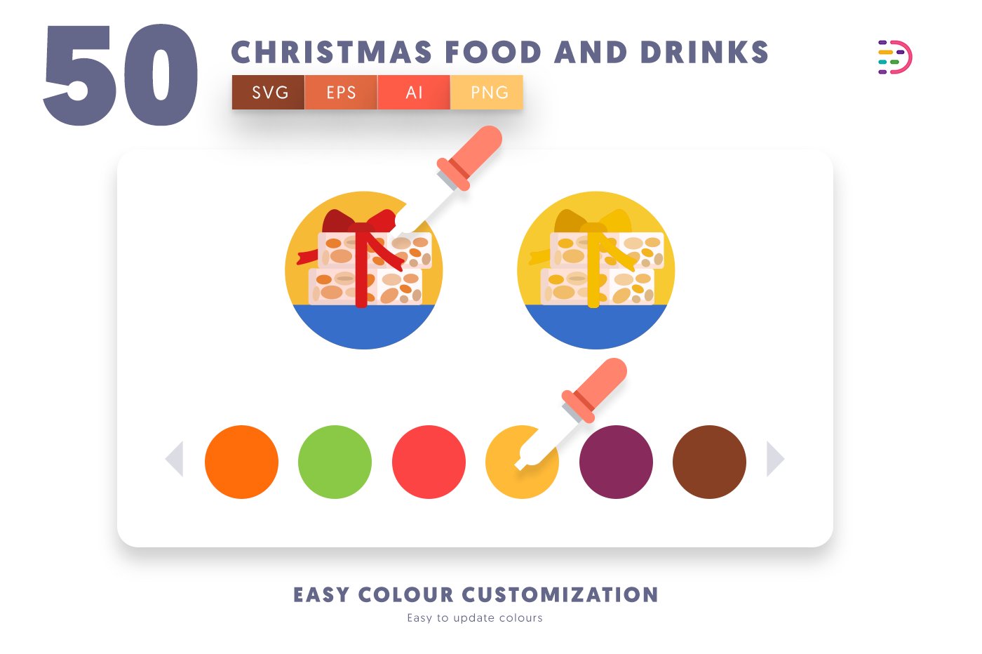 Customizable and vector 50 Christmas Food and Drinks Icons