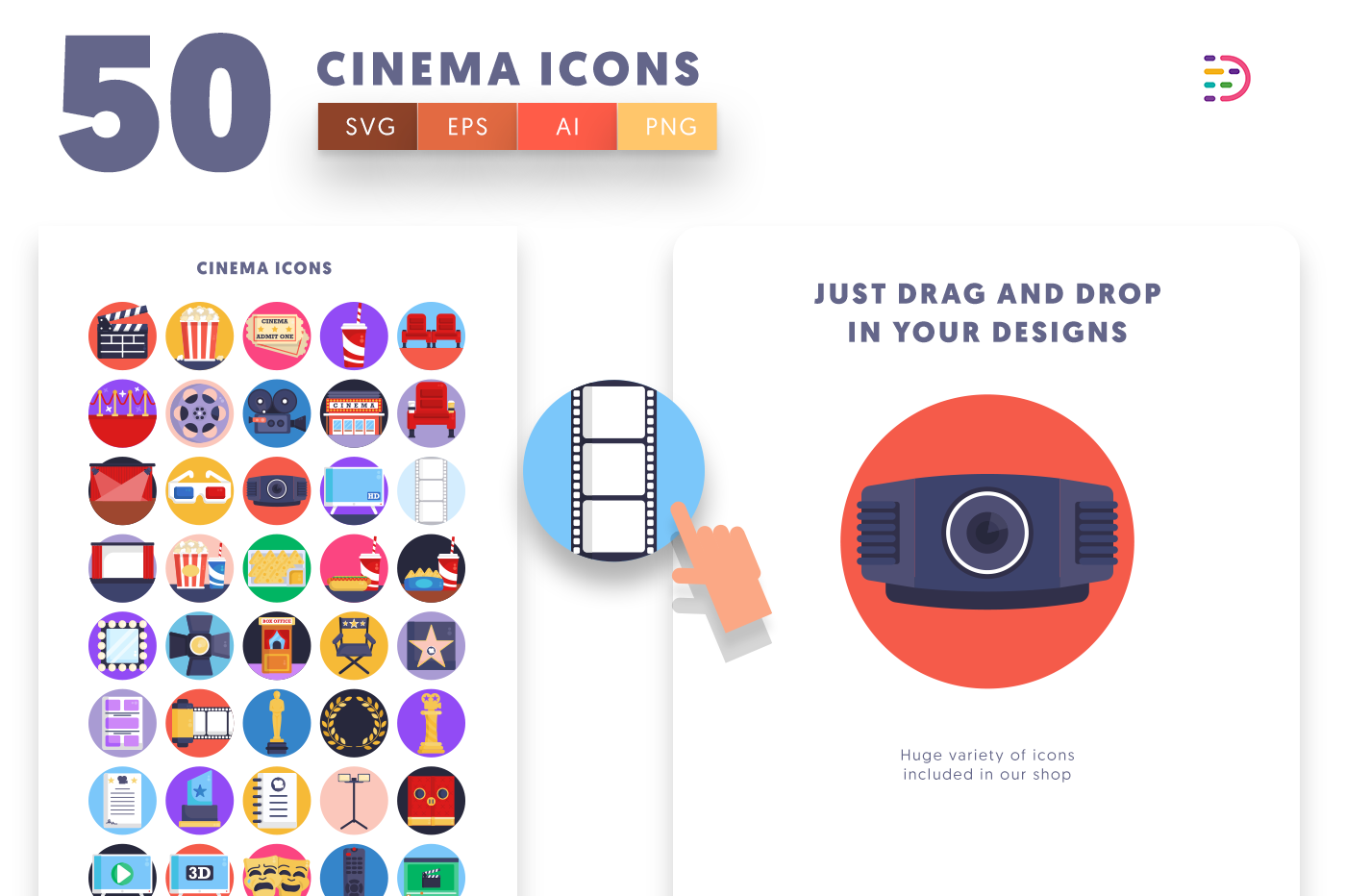Drag and drop vector 50 Cinema Icons