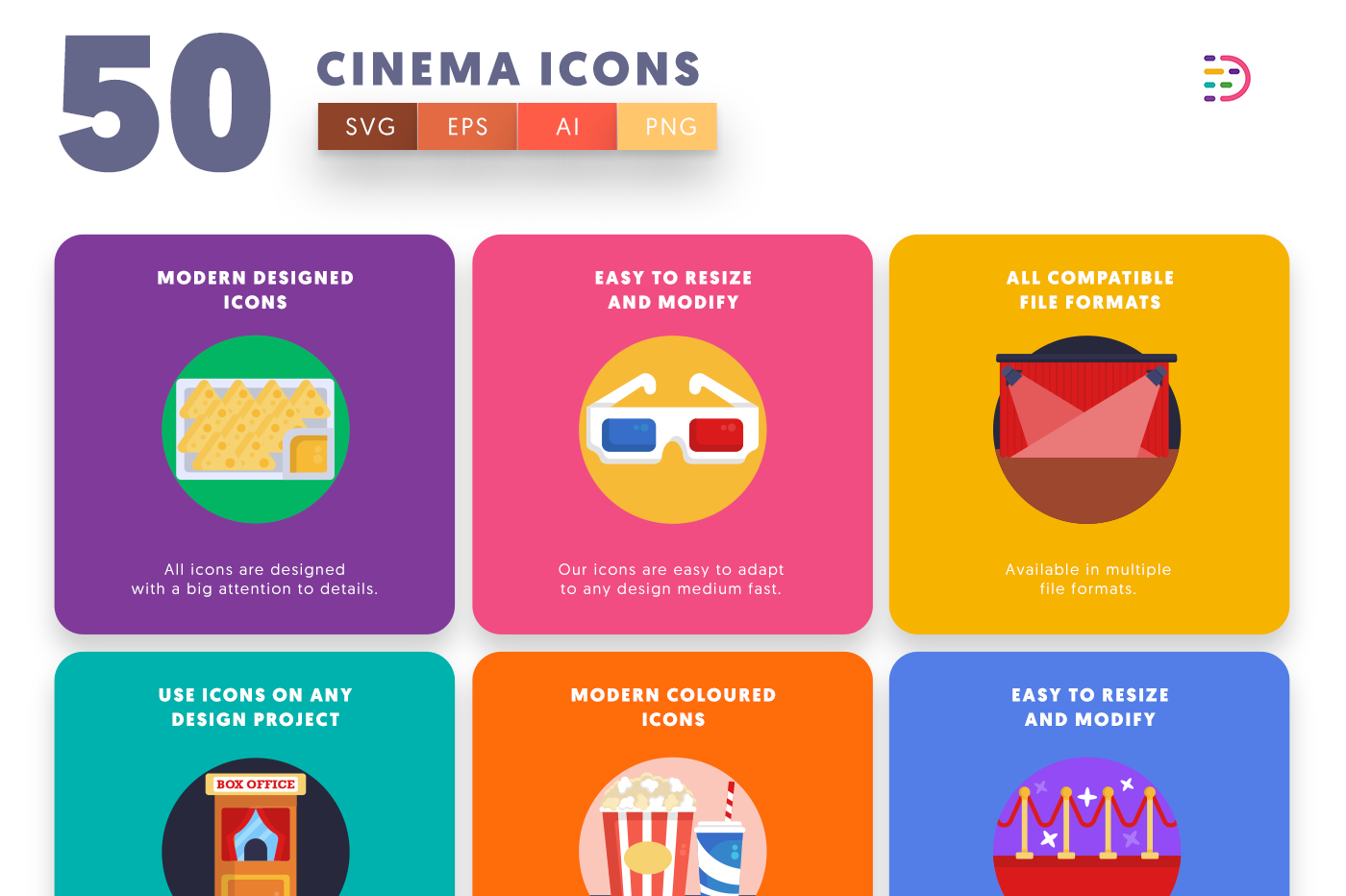 50 Cinema Icons with colored backgrounds