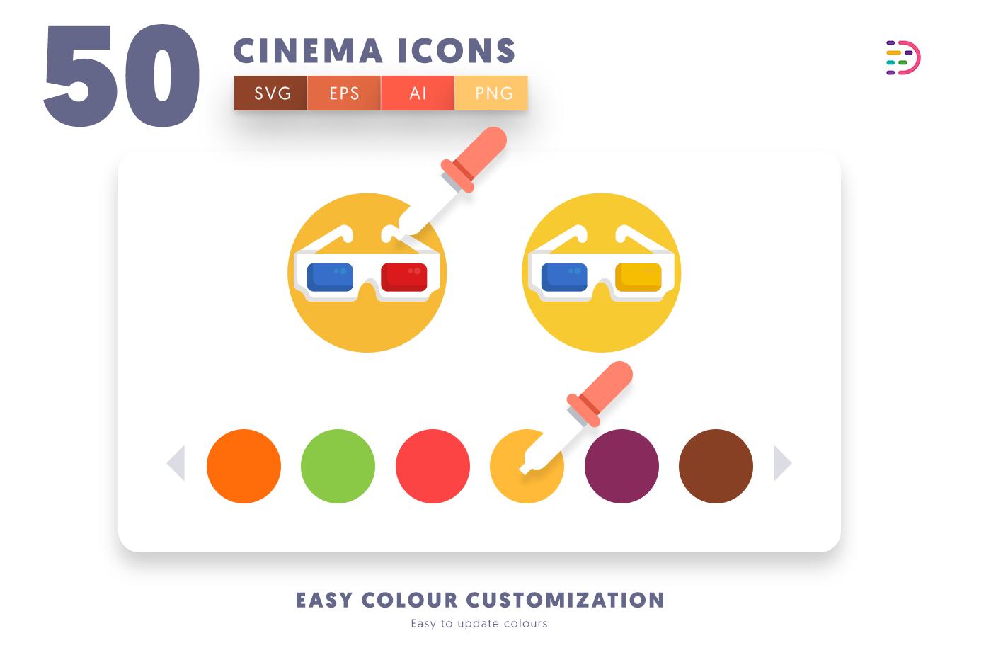 Customizable and vector 50 Cinema Icons
