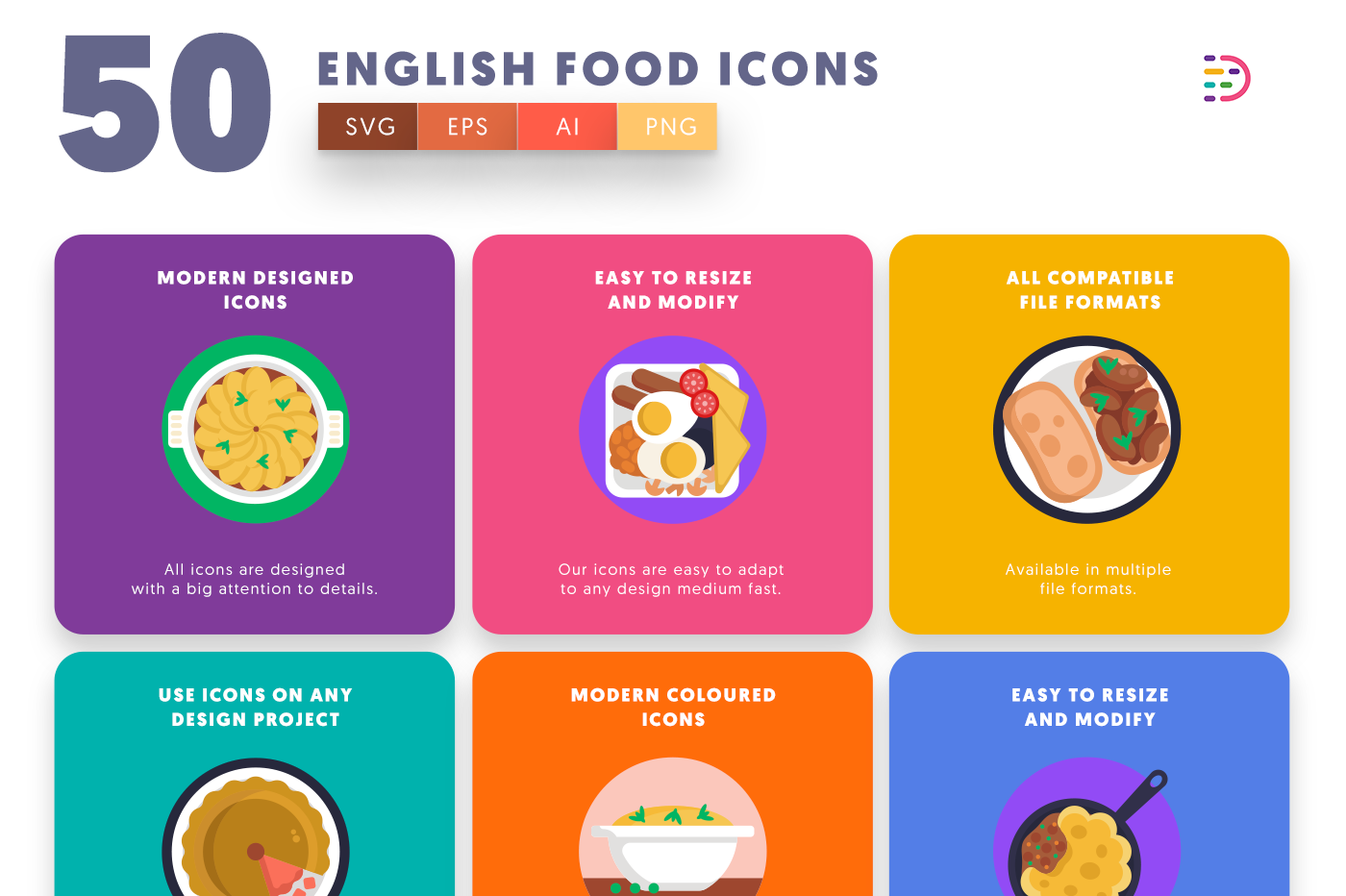 50 English Food Icons with colored backgrounds