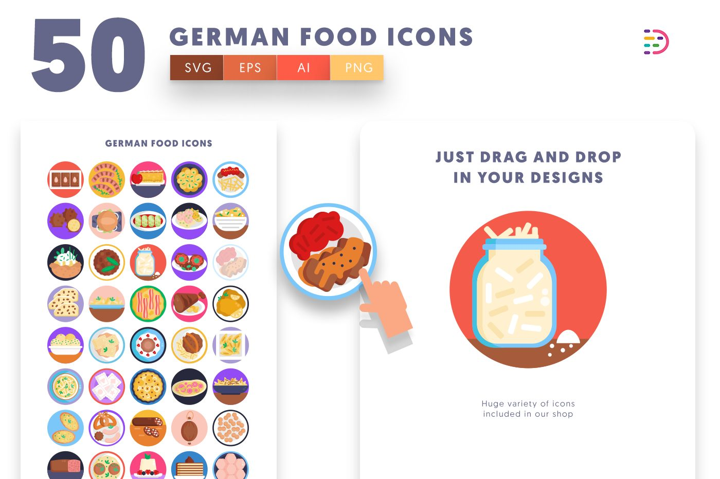 Drag and drop vector 50 German Food Icons