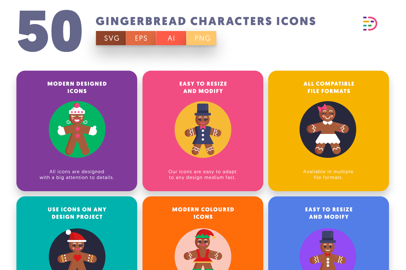 50 Gingerbread Characters Icons with colored backgrounds