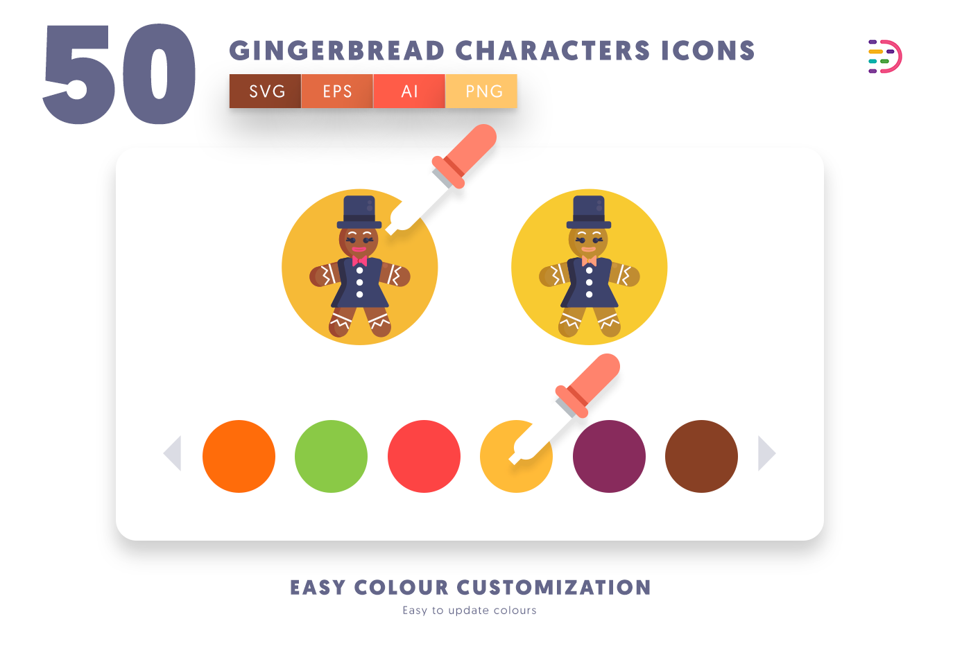 Customizable and vector 50 Gingerbread Characters Icons