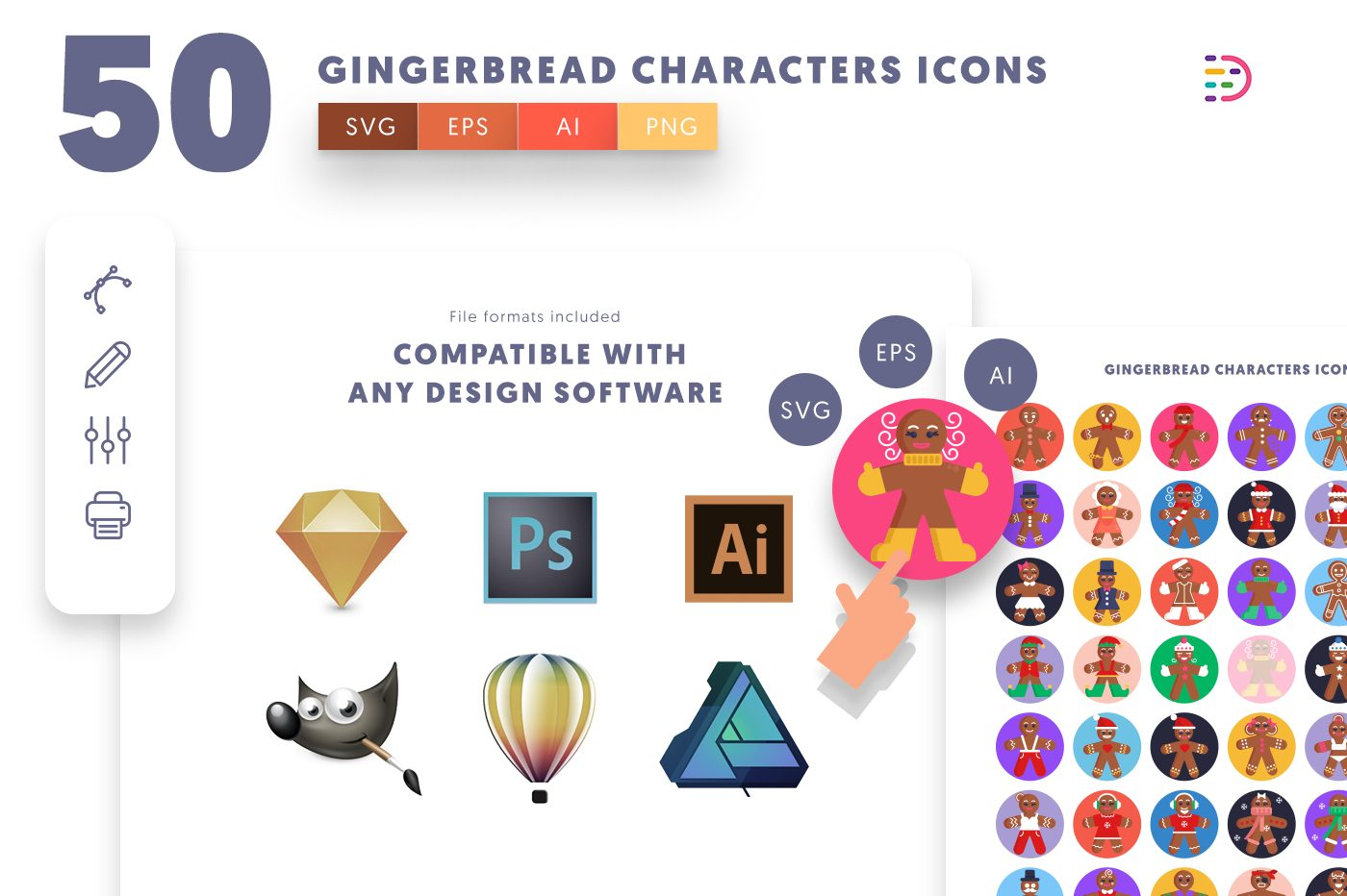 full vector 50 Gingerbread Characters Icons EPS, SVG, PNG