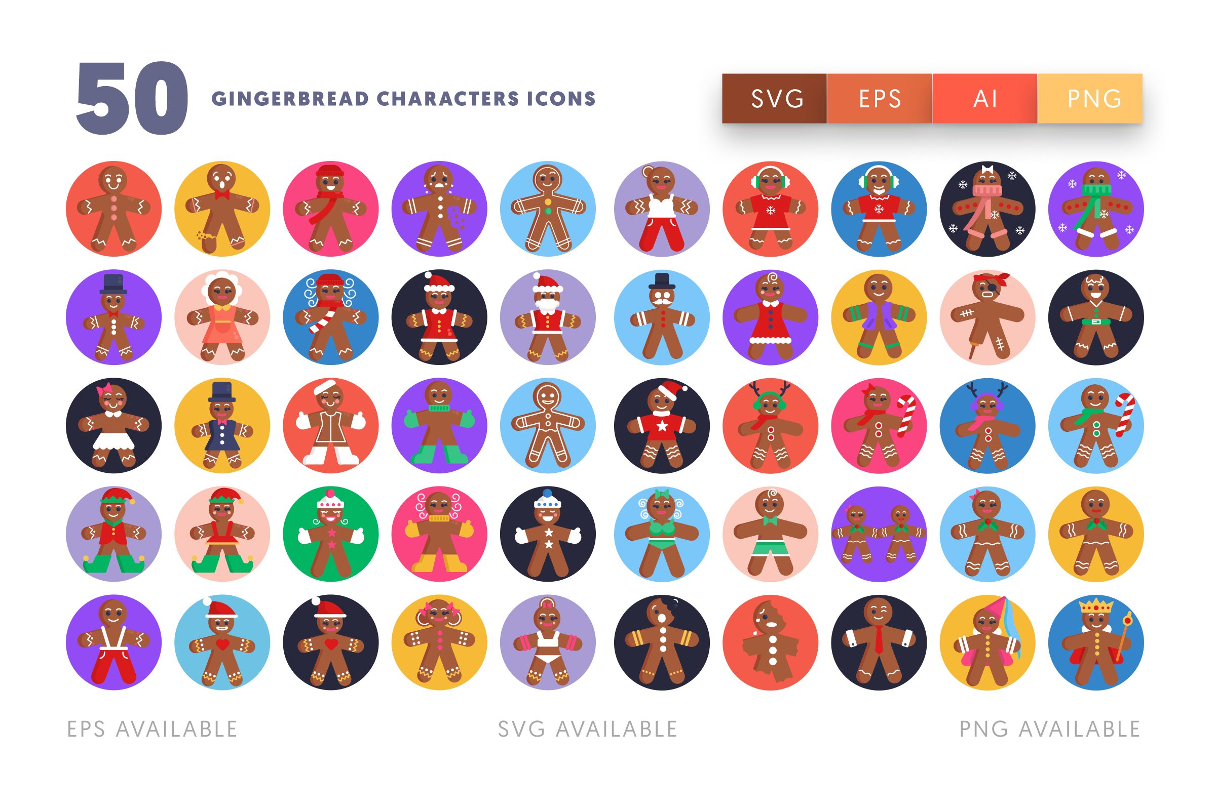 Gingerbread Characters icons png/svg/eps