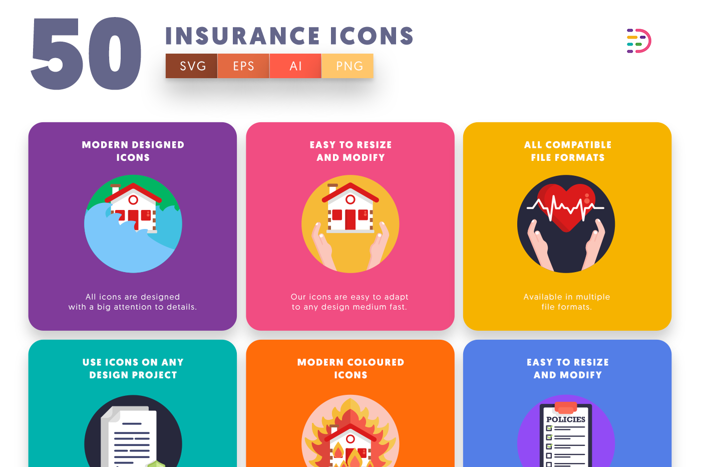 50 Insurance Icons with colored backgrounds