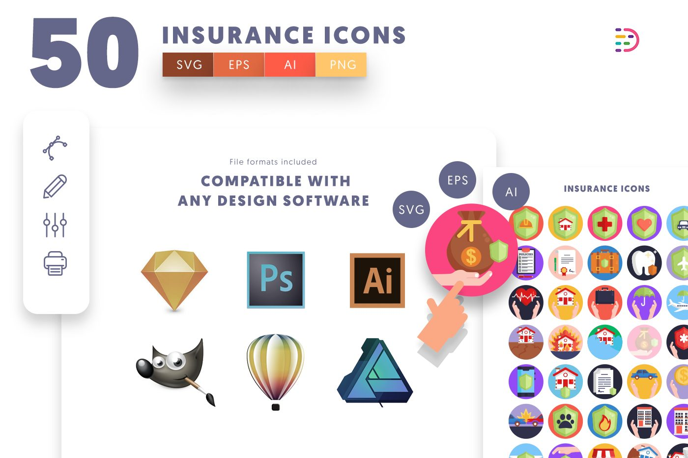 full vector 50 Insurance Icons EPS, SVG, PNG