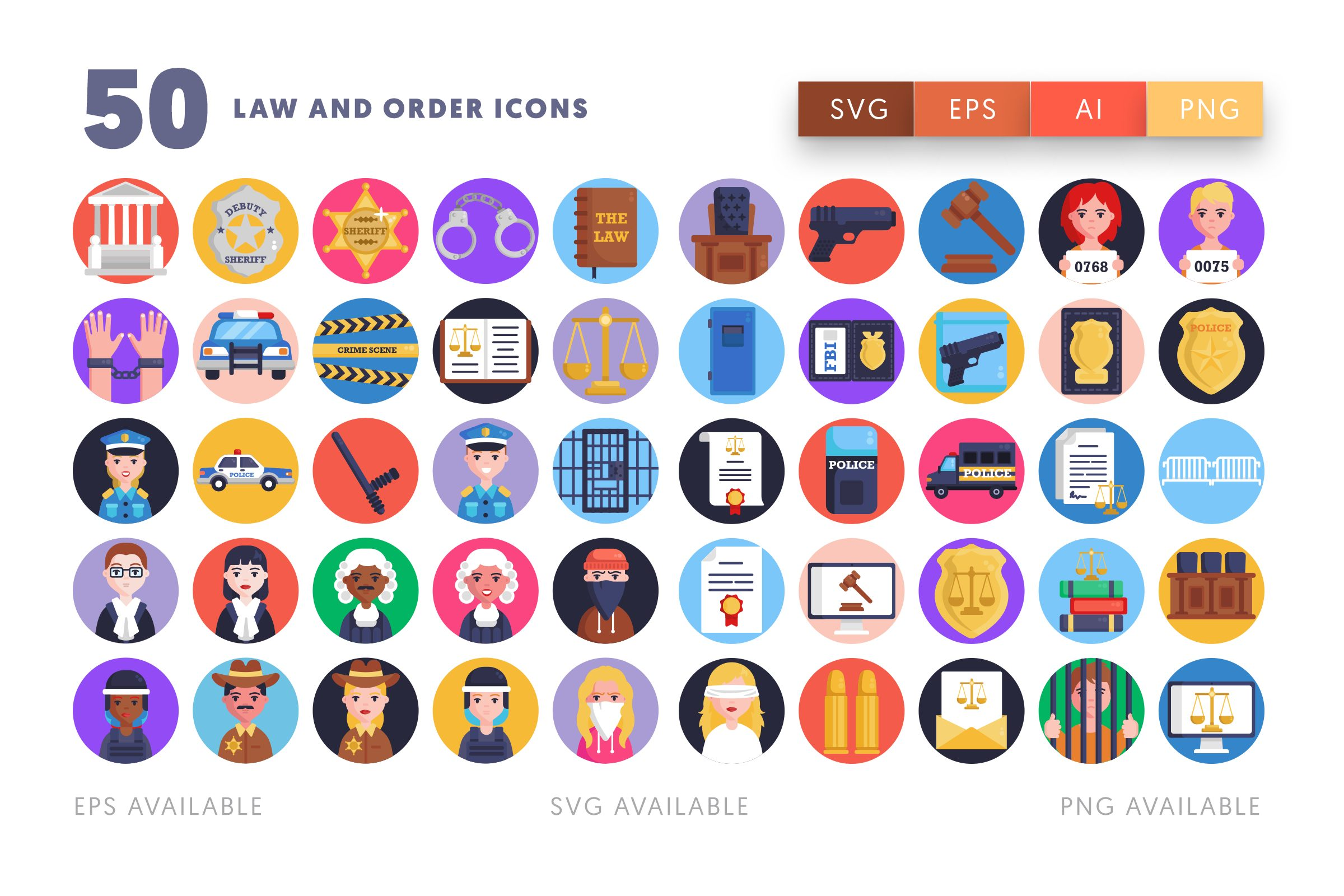 Law and Order icons png/svg/eps