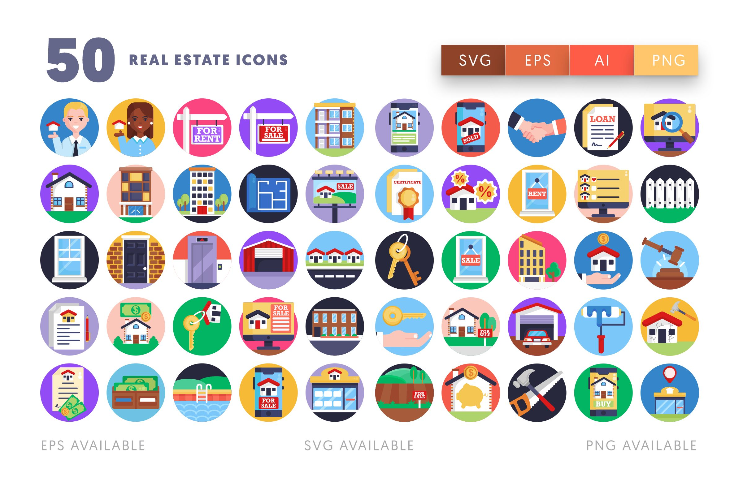 Real Estate icons png/svg/eps