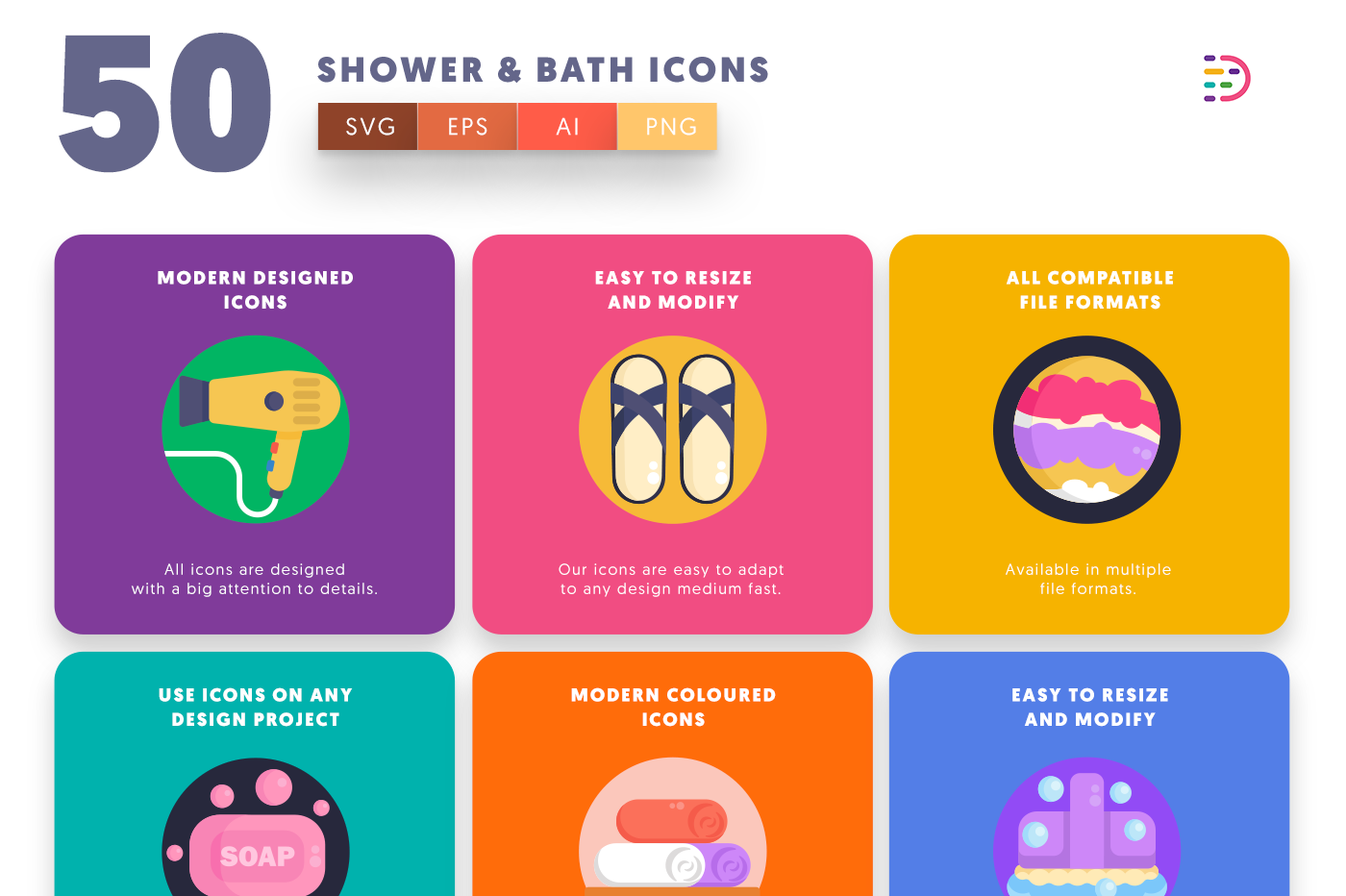 50 Shower & Bath Icons with colored backgrounds