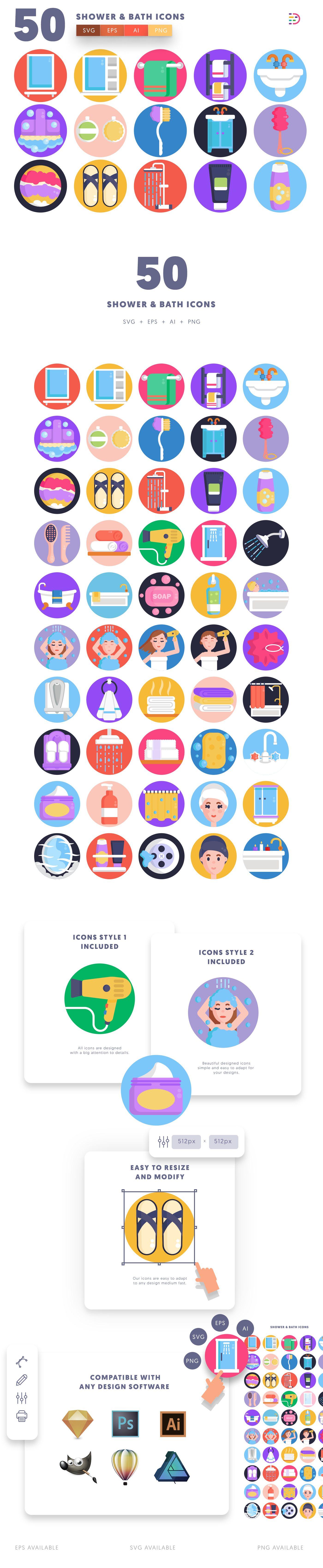 Shower & Bath icons info graphic