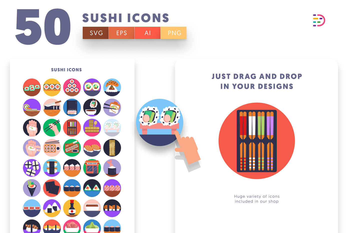 Drag and drop vector 50 Sushi Icons