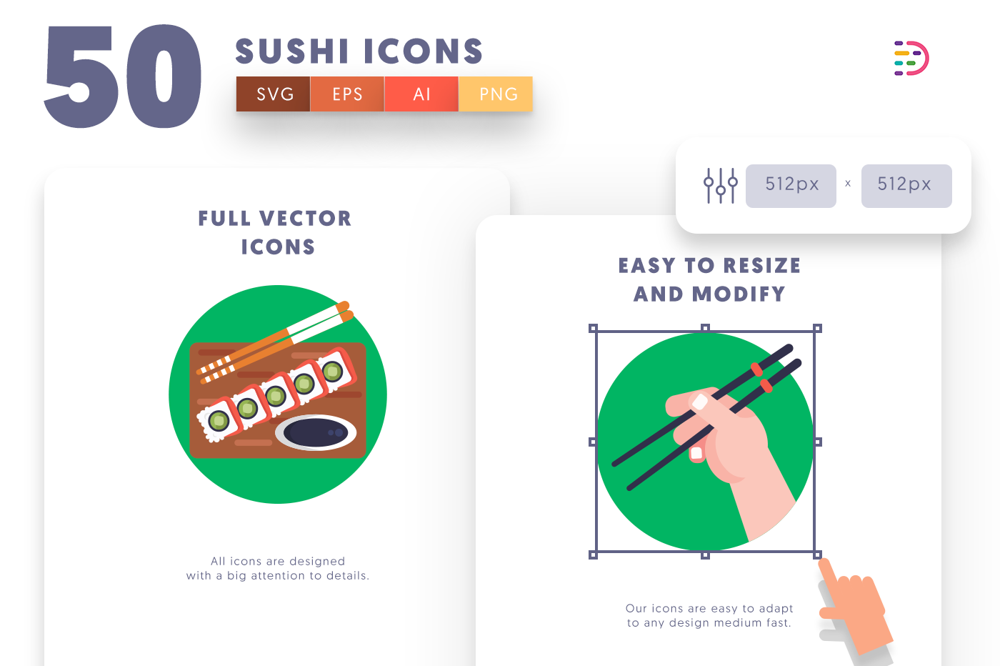 Full vector 50Sushi Icons