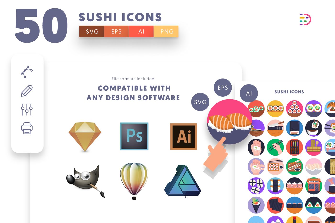 full vector 50 Sushi Icons EPS, SVG, PNG