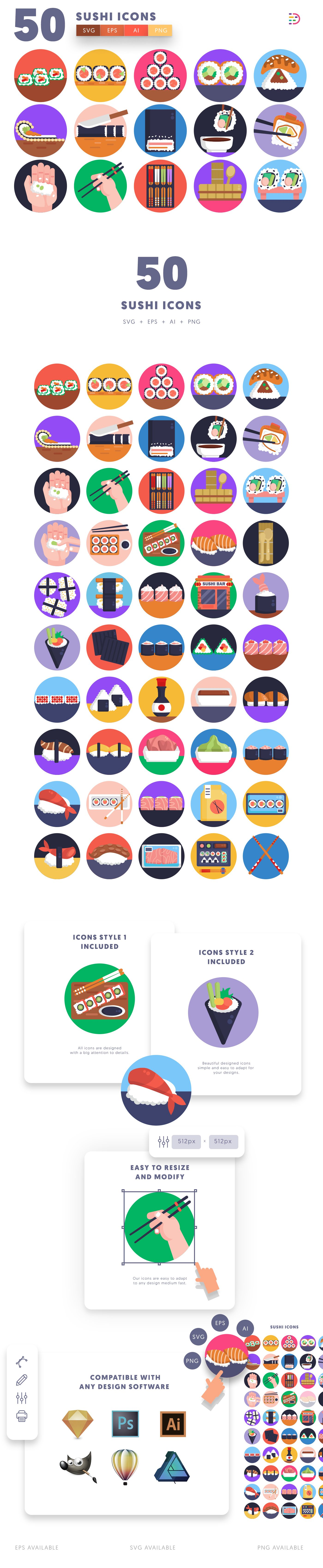 Sushi icons info graphic