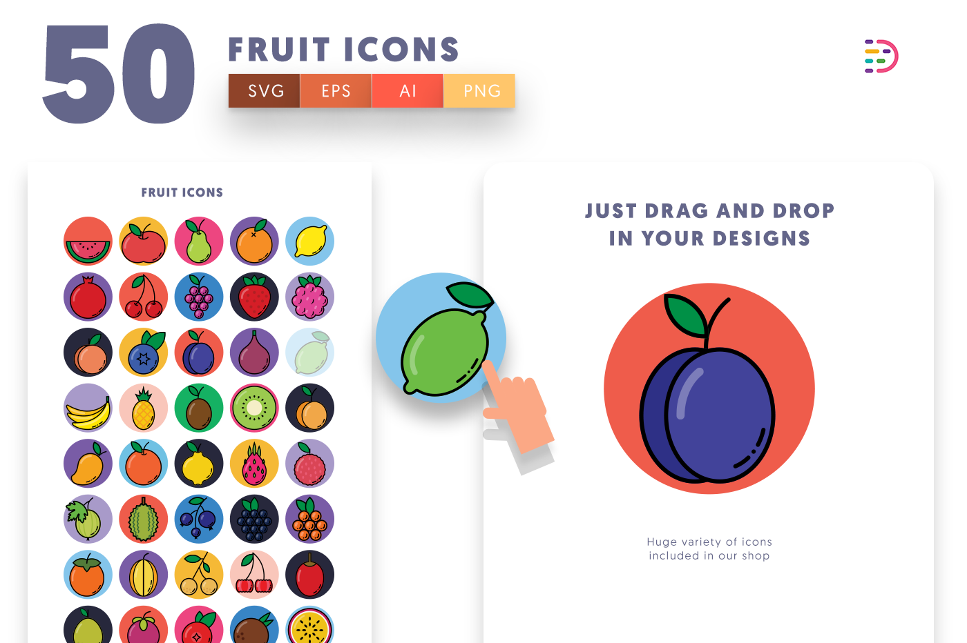 Drag and drop vector 50 Fruit Icons