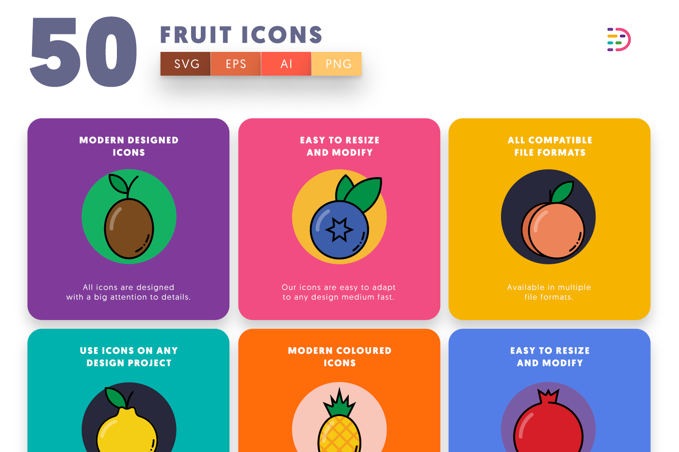 50 Fruit Icons with colored backgrounds