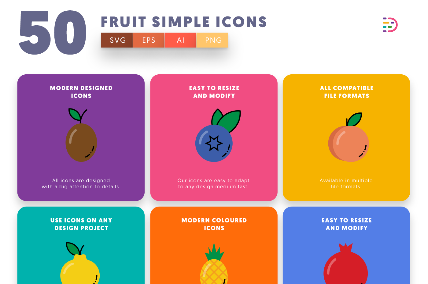 50 Fruit Simple Icons with colored backgrounds