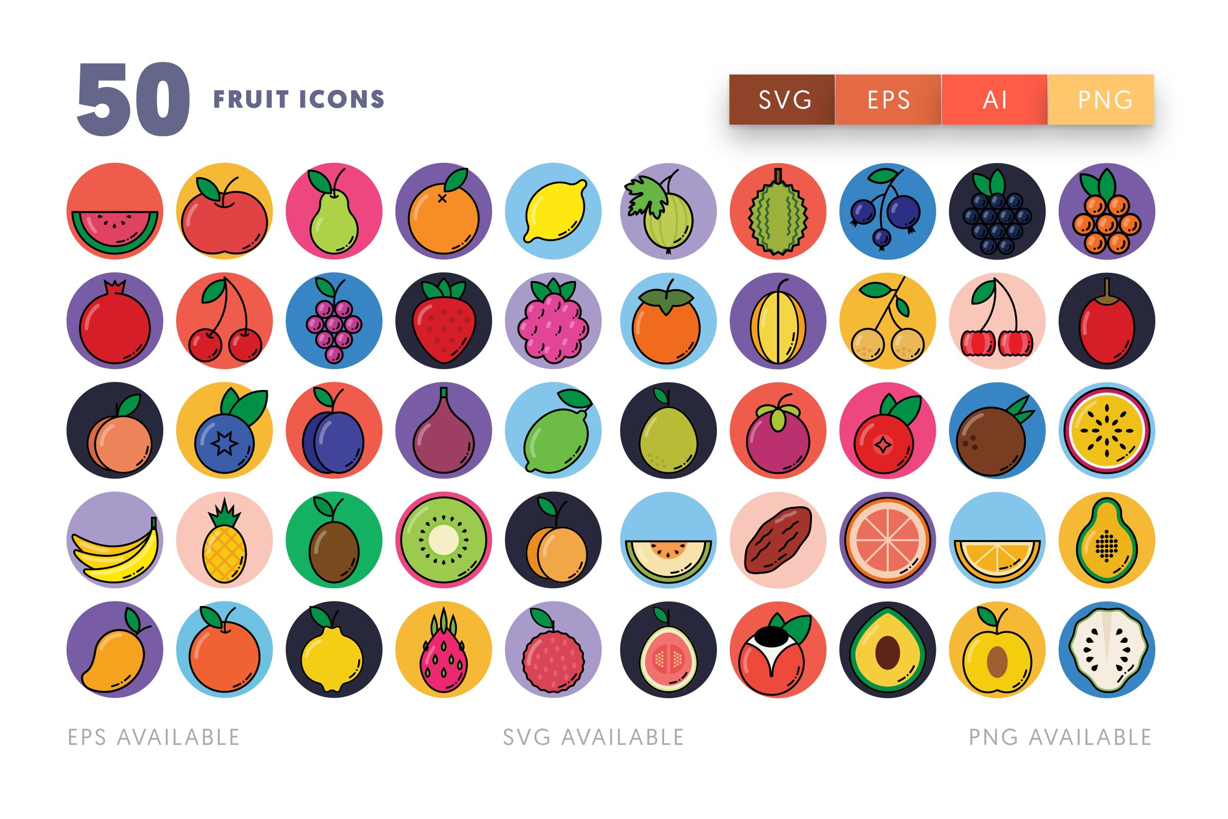 Fruit icons png/svg/eps