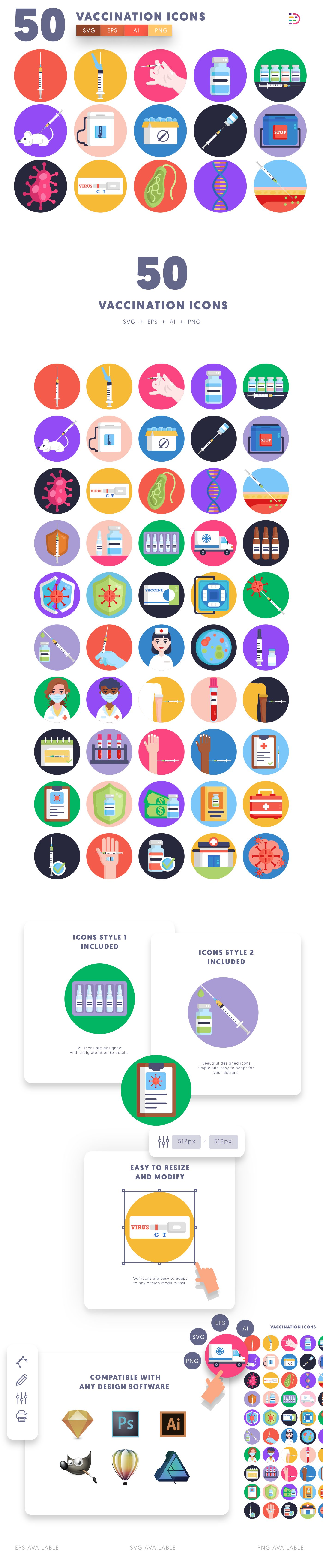 Vaccination icons info graphic