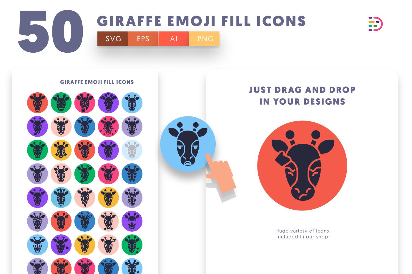 Drag and drop vector 50 Giraffe Emoji Fill Icons