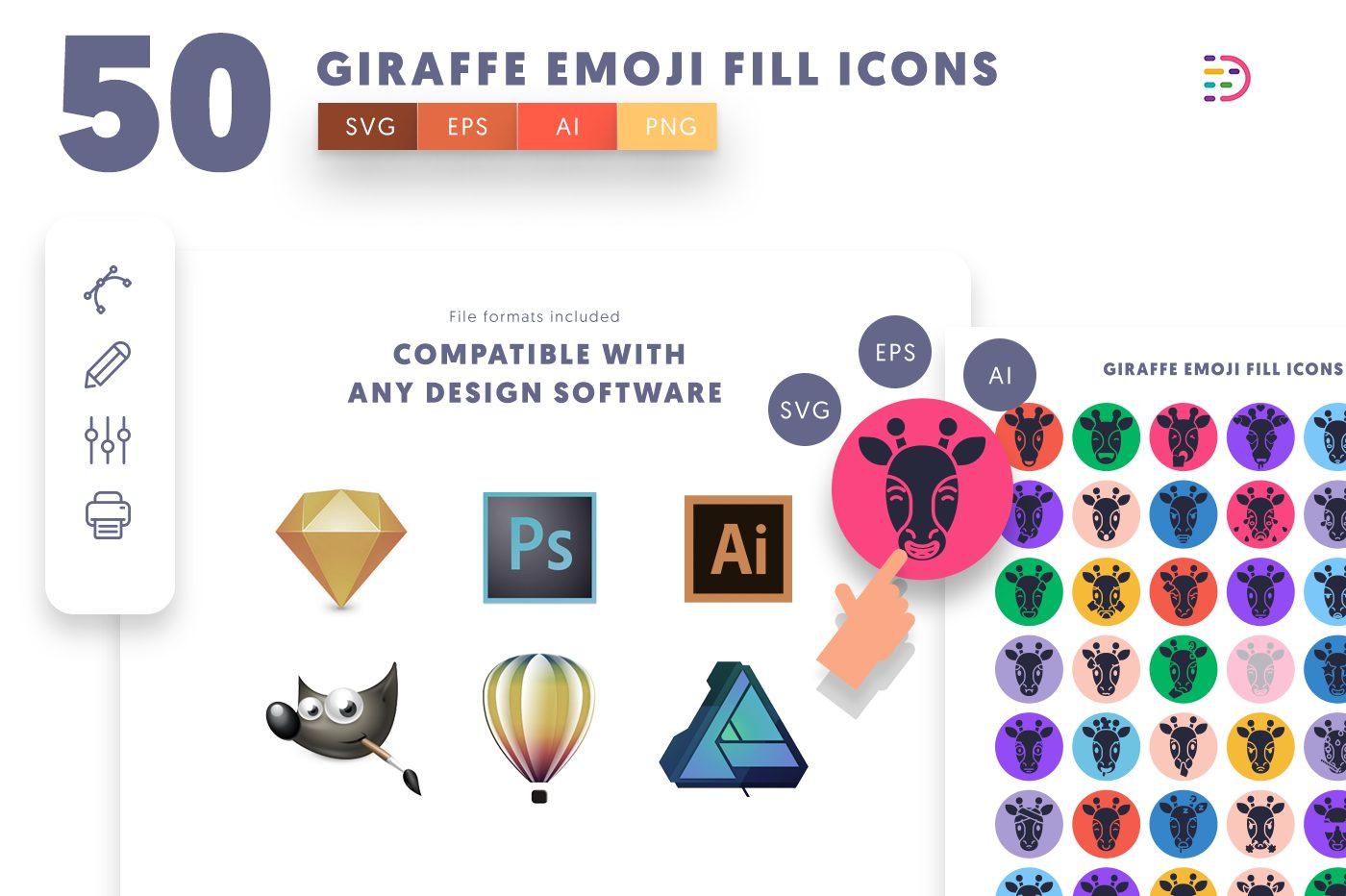 full vector 50 Giraffe Emoji Fill Icons EPS, SVG, PNG