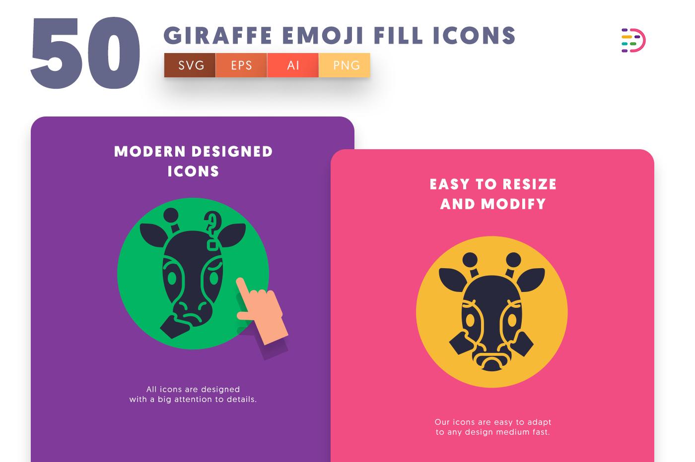 Giraffe Emoji Fill icons png/svg/eps
