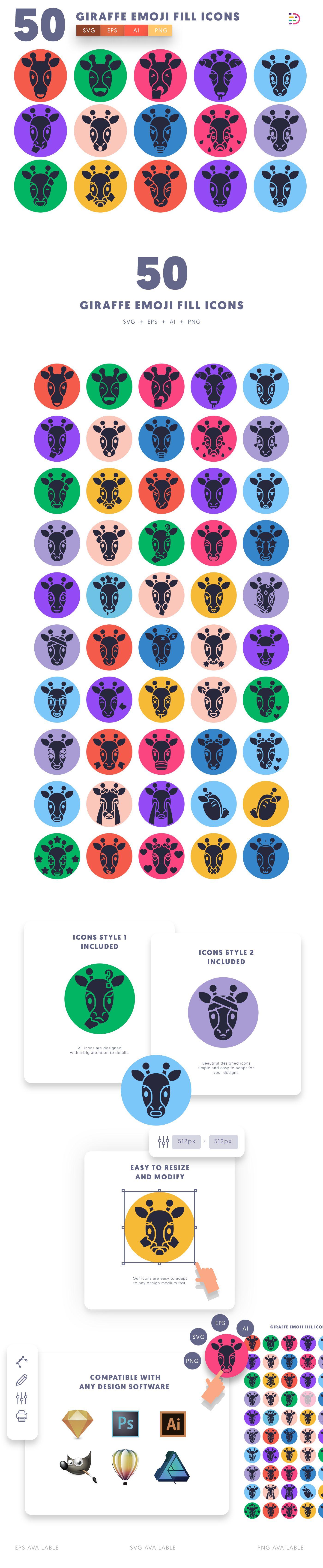 Giraffe Emoji Fill icons info graphic
