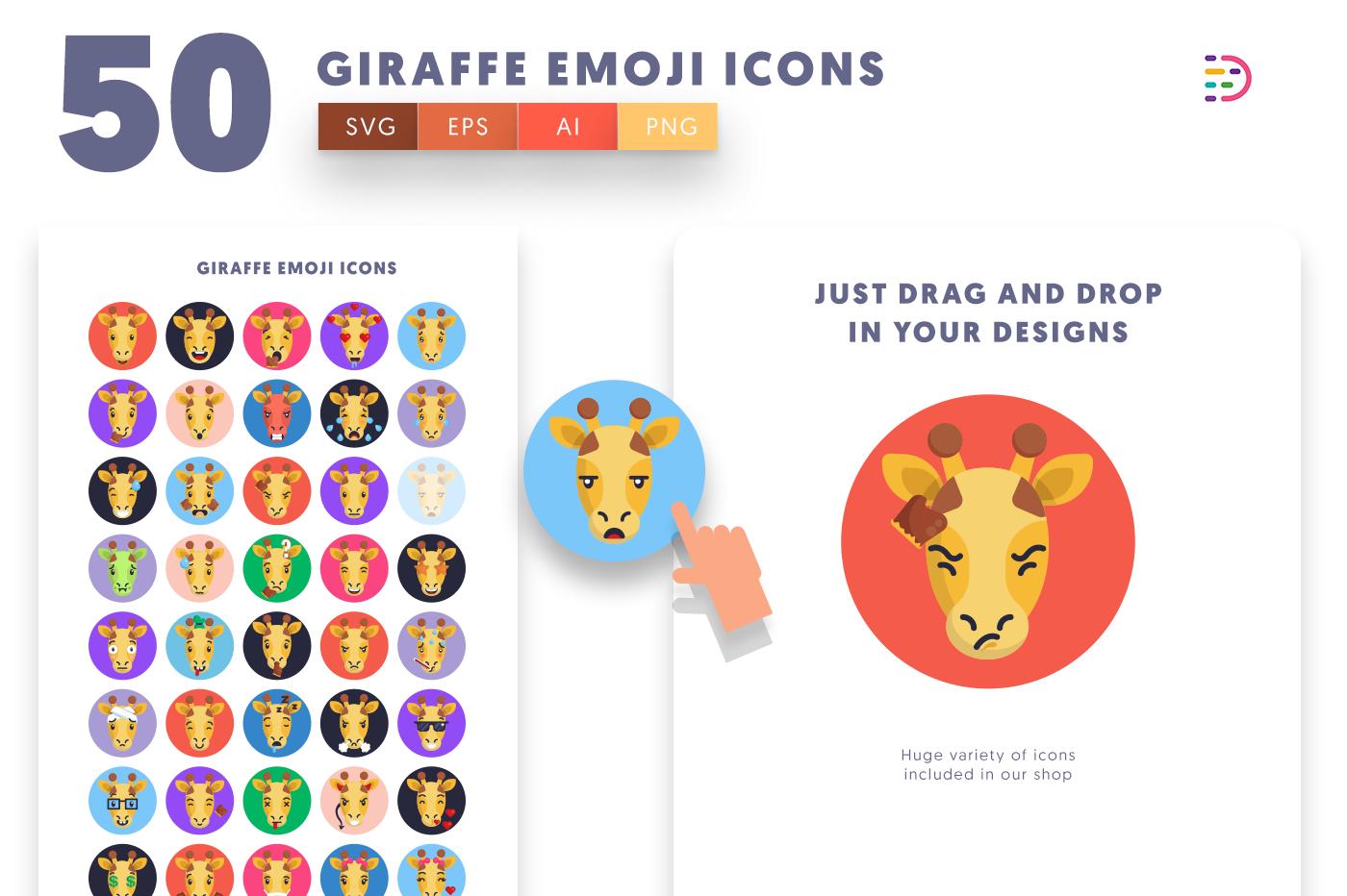 Drag and drop vector 50 Giraffe Emoji Icons