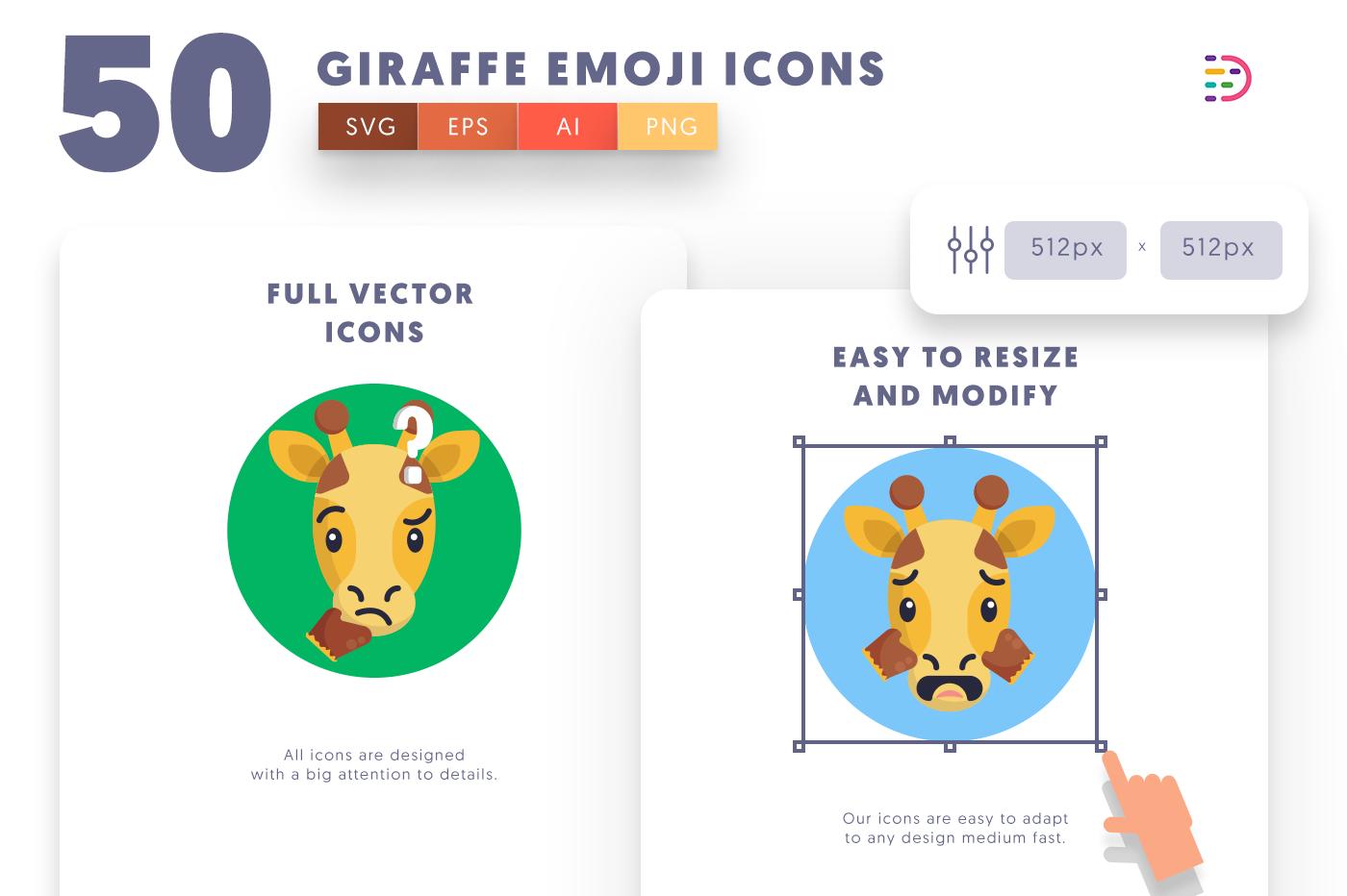 Full vector 50GiraffeEmoji Icons