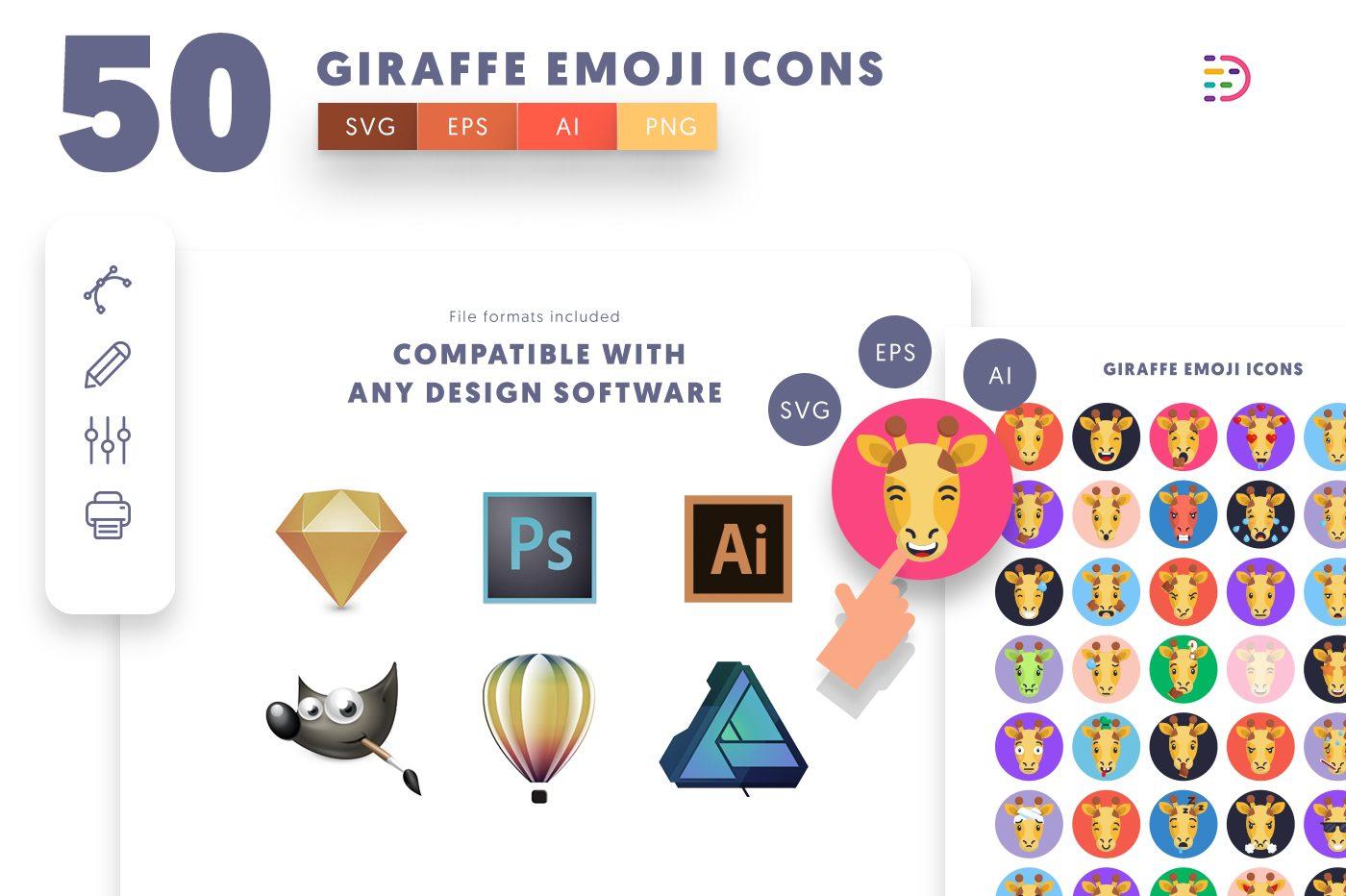 full vector 50 Giraffe Emoji Icons EPS, SVG, PNG