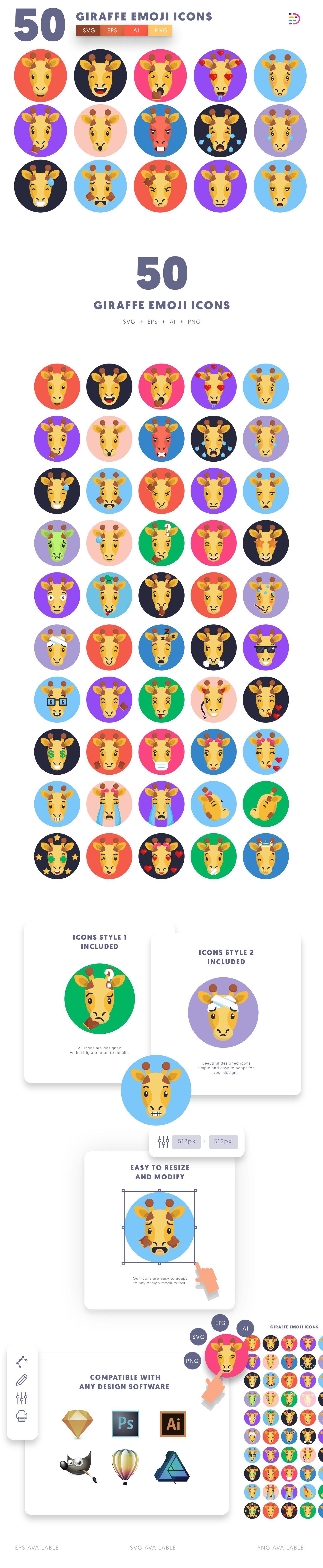 Giraffe Emoji icons info graphic