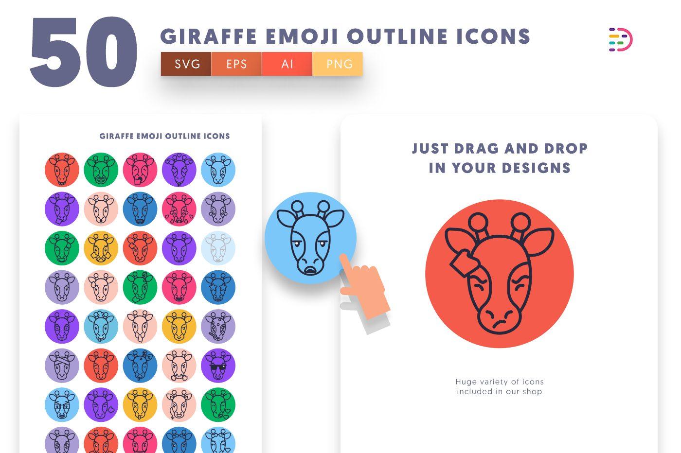 Drag and drop vector 50 Giraffe Emoji Outline Icons