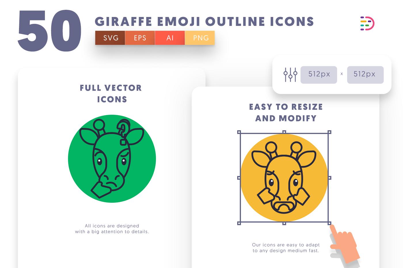 Full vector 50GiraffeEmojiOutline Icons