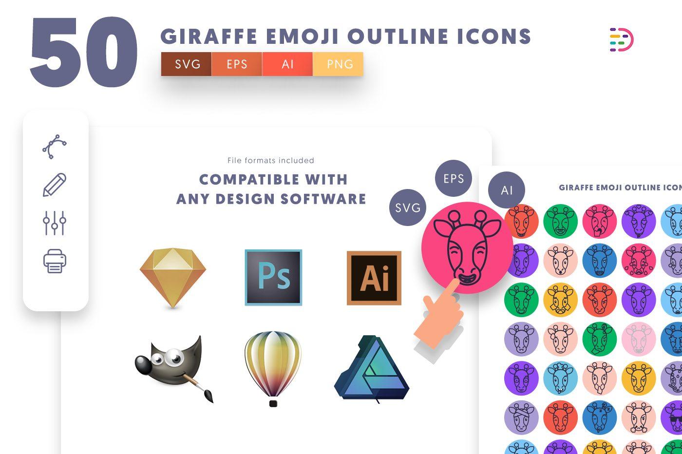 full vector 50 Giraffe Emoji Outline Icons EPS, SVG, PNG
