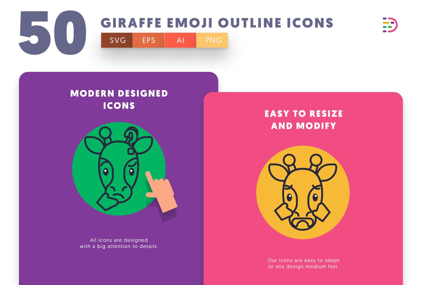 Giraffe Emoji Outline icons png/svg/eps