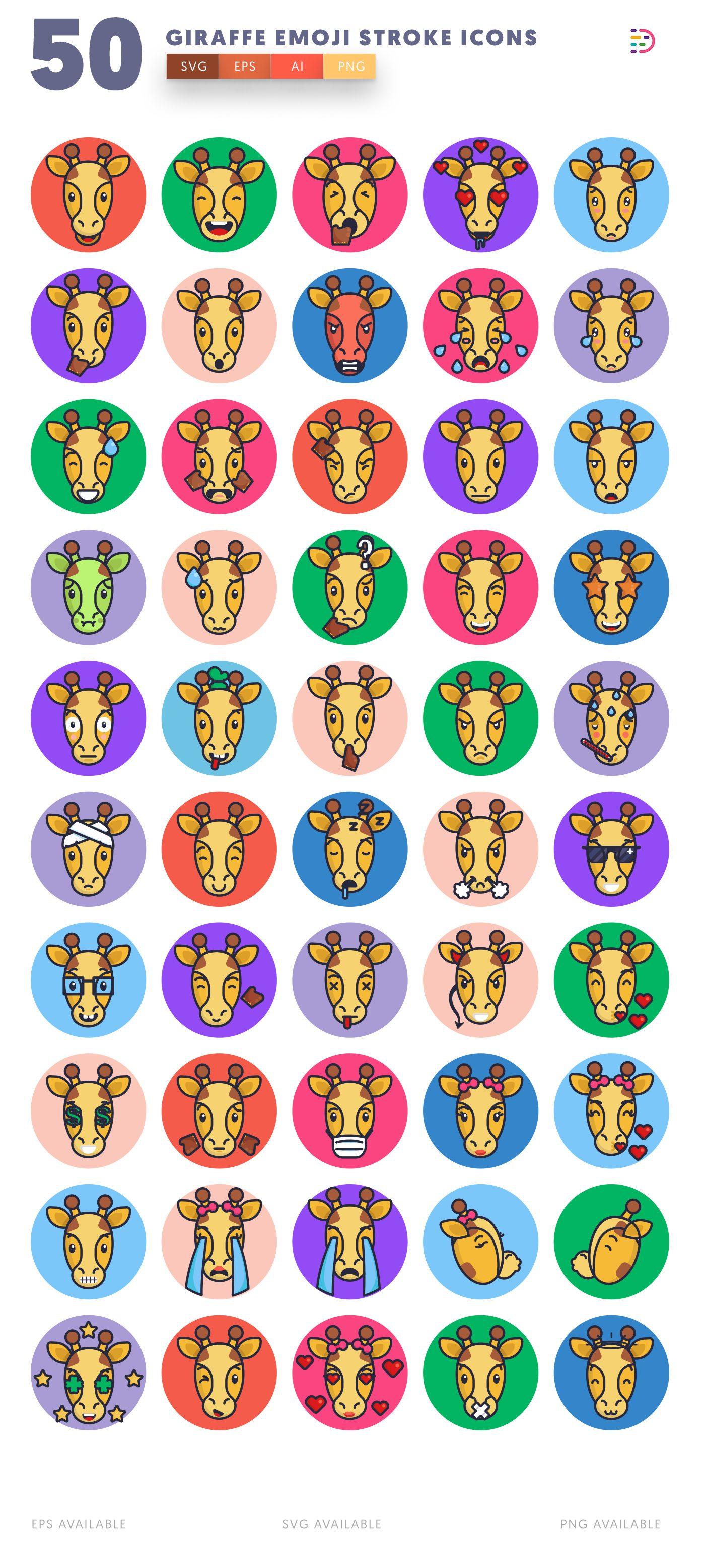 Giraffe Emoji Stroke icon pack