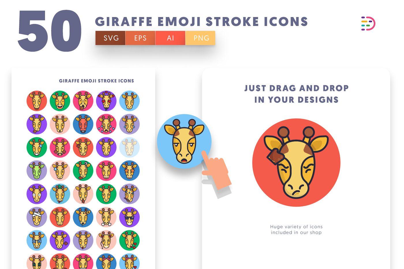 Drag and drop vector 50 Giraffe Emoji Stroke Icons