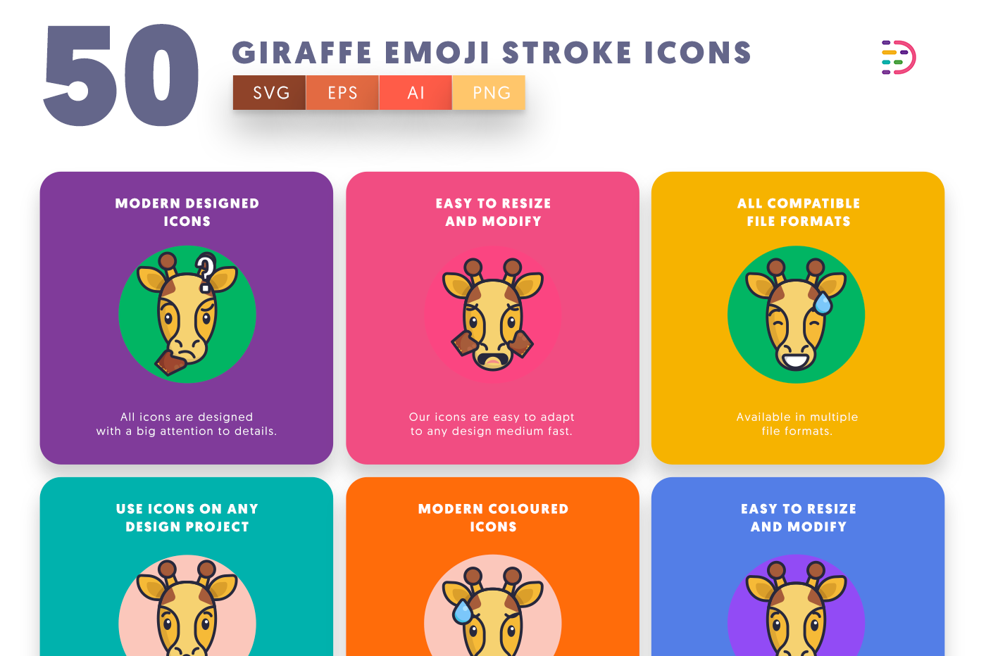 50 Giraffe Emoji Stroke Icons with colored backgrounds