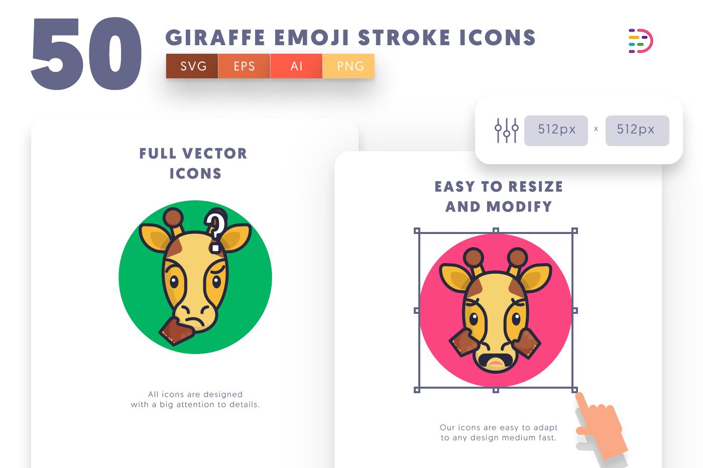 Full vector 50GiraffeEmojiStroke Icons