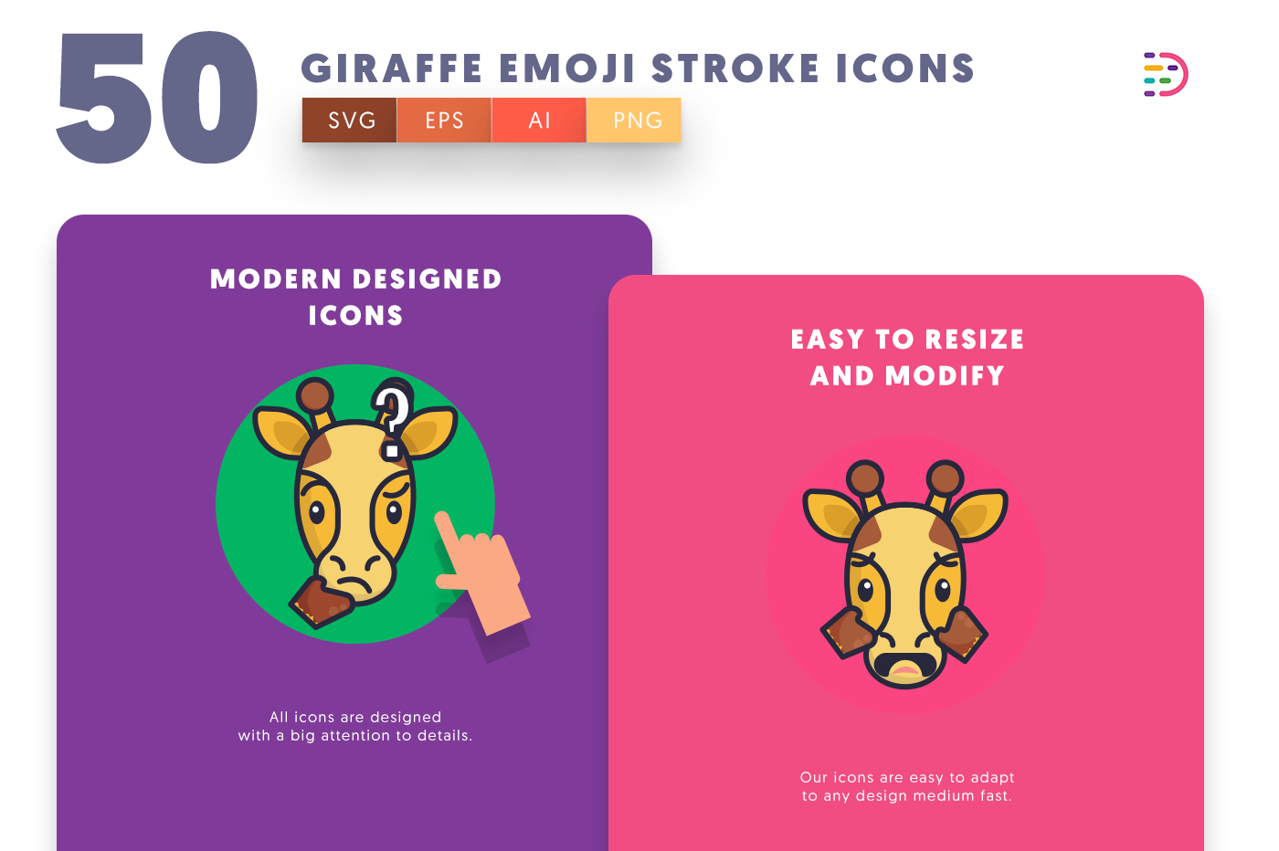Giraffe Emoji Stroke icons png/svg/eps