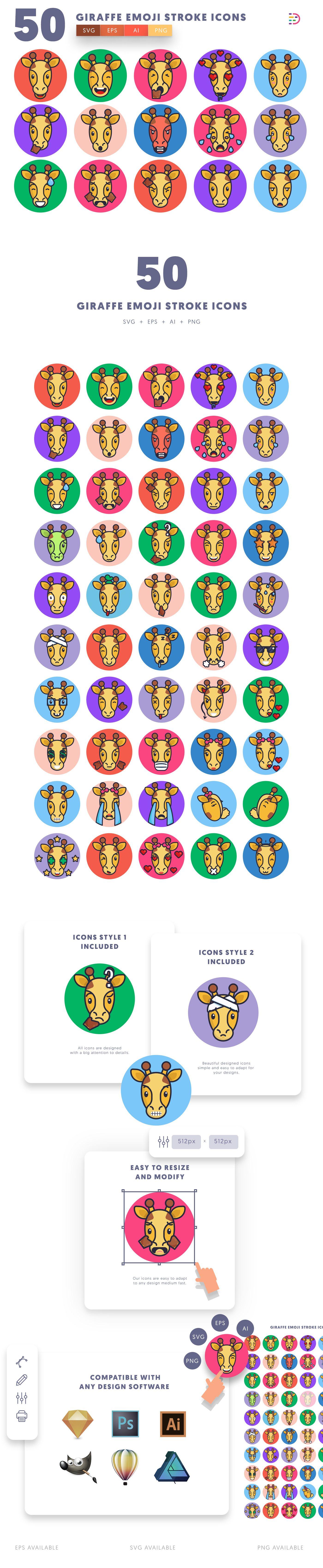 Giraffe Emoji Stroke icons info graphic