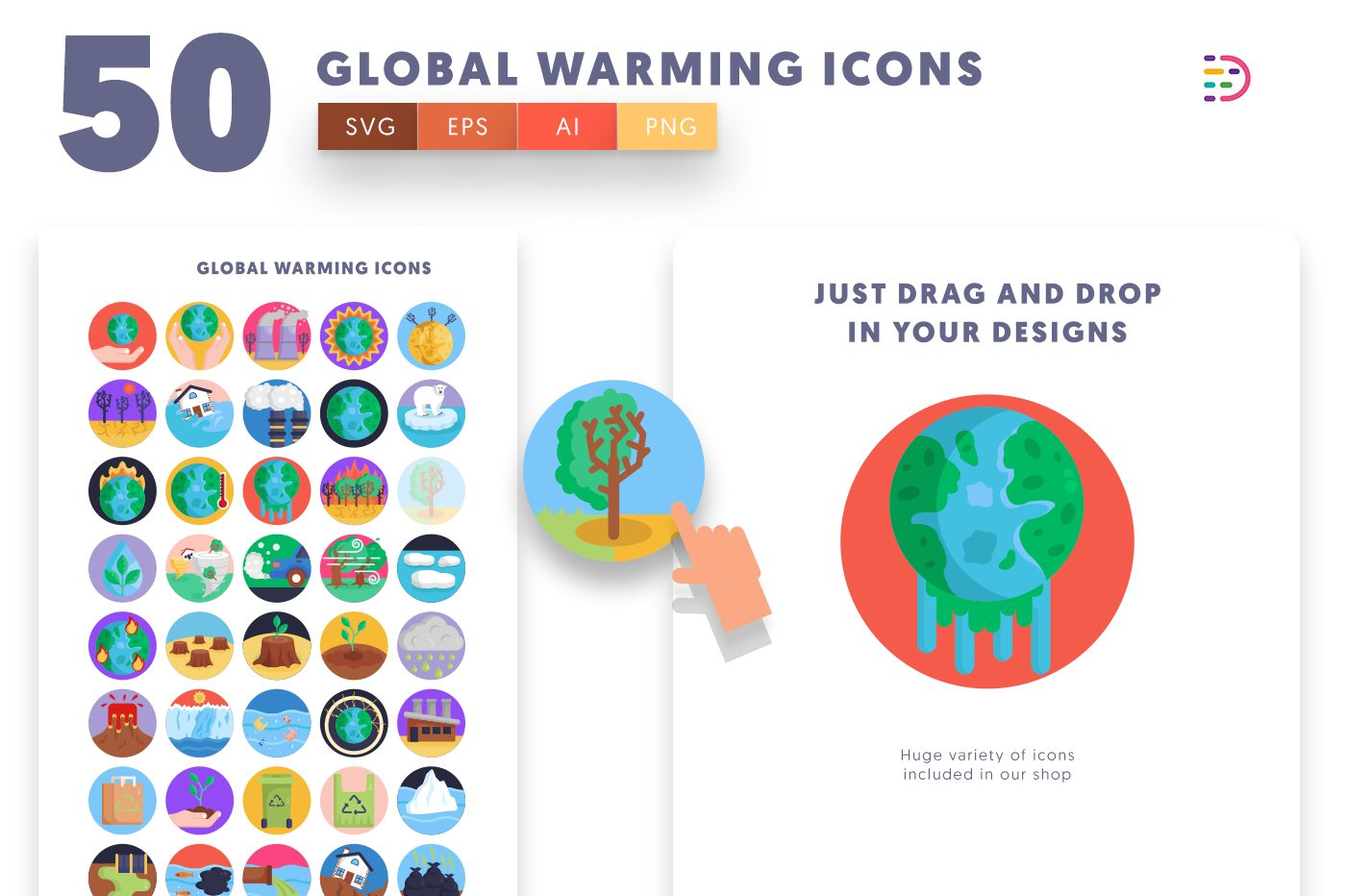 Drag and drop vector 50 Global Warming Icons