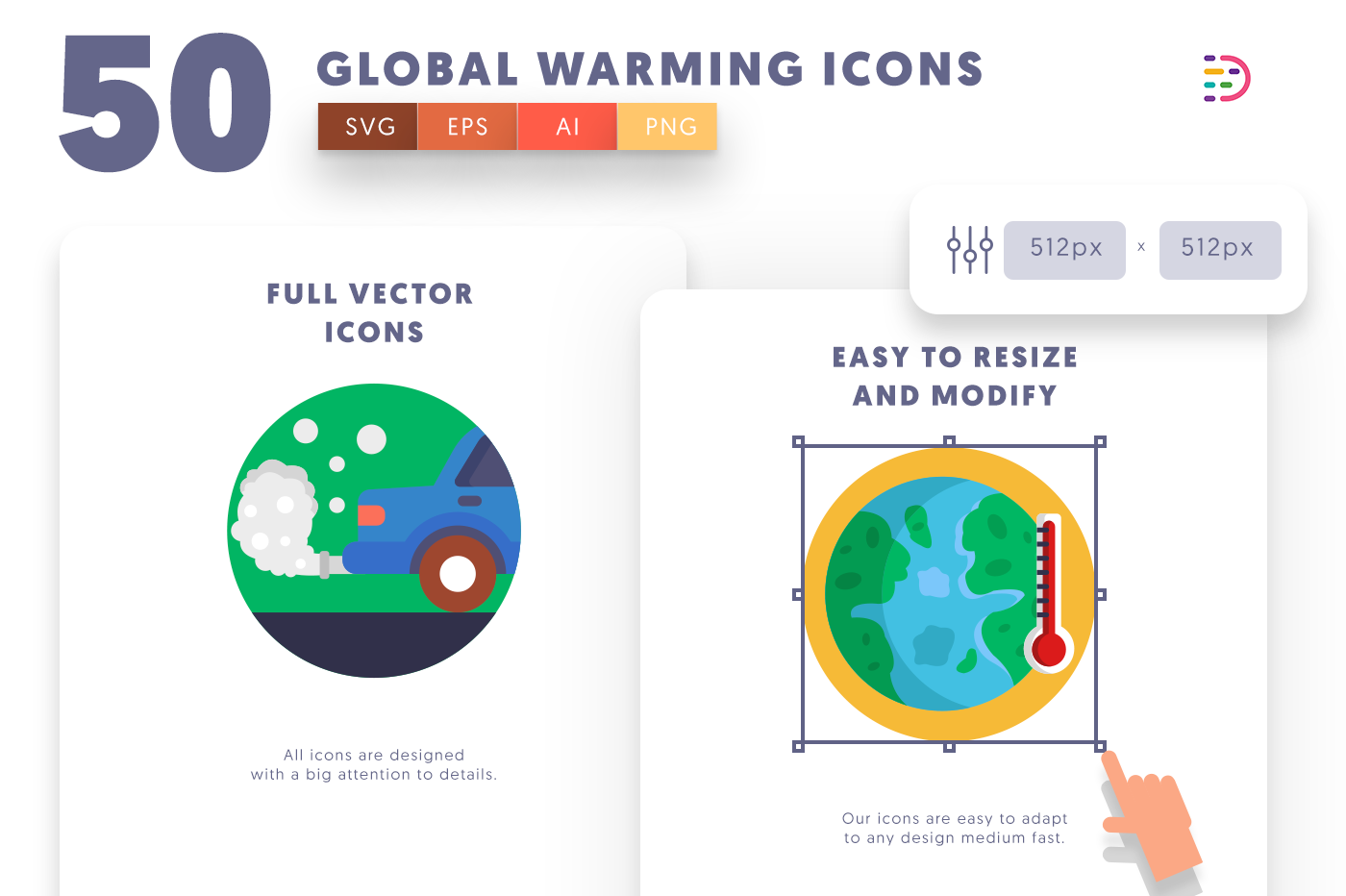 Full vector 50GlobalWarming Icons