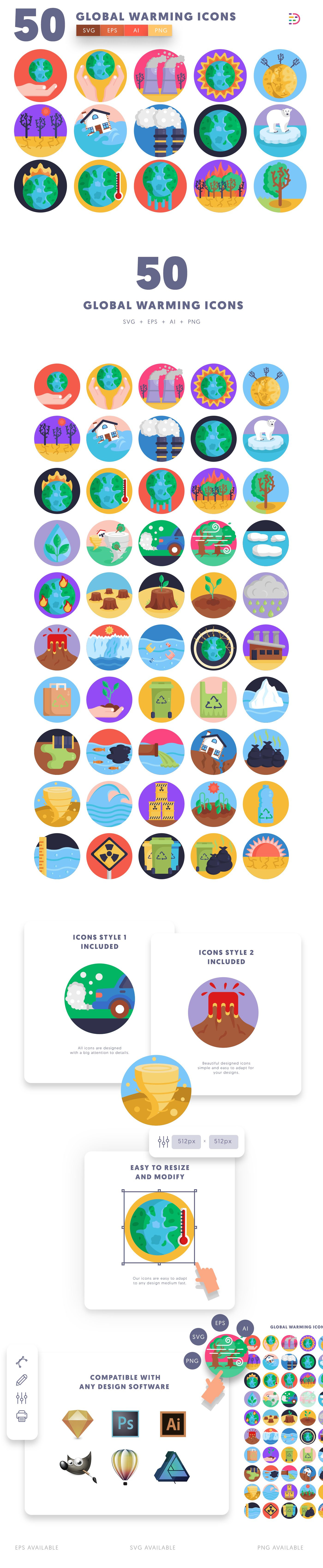 Global Warming icons info graphic