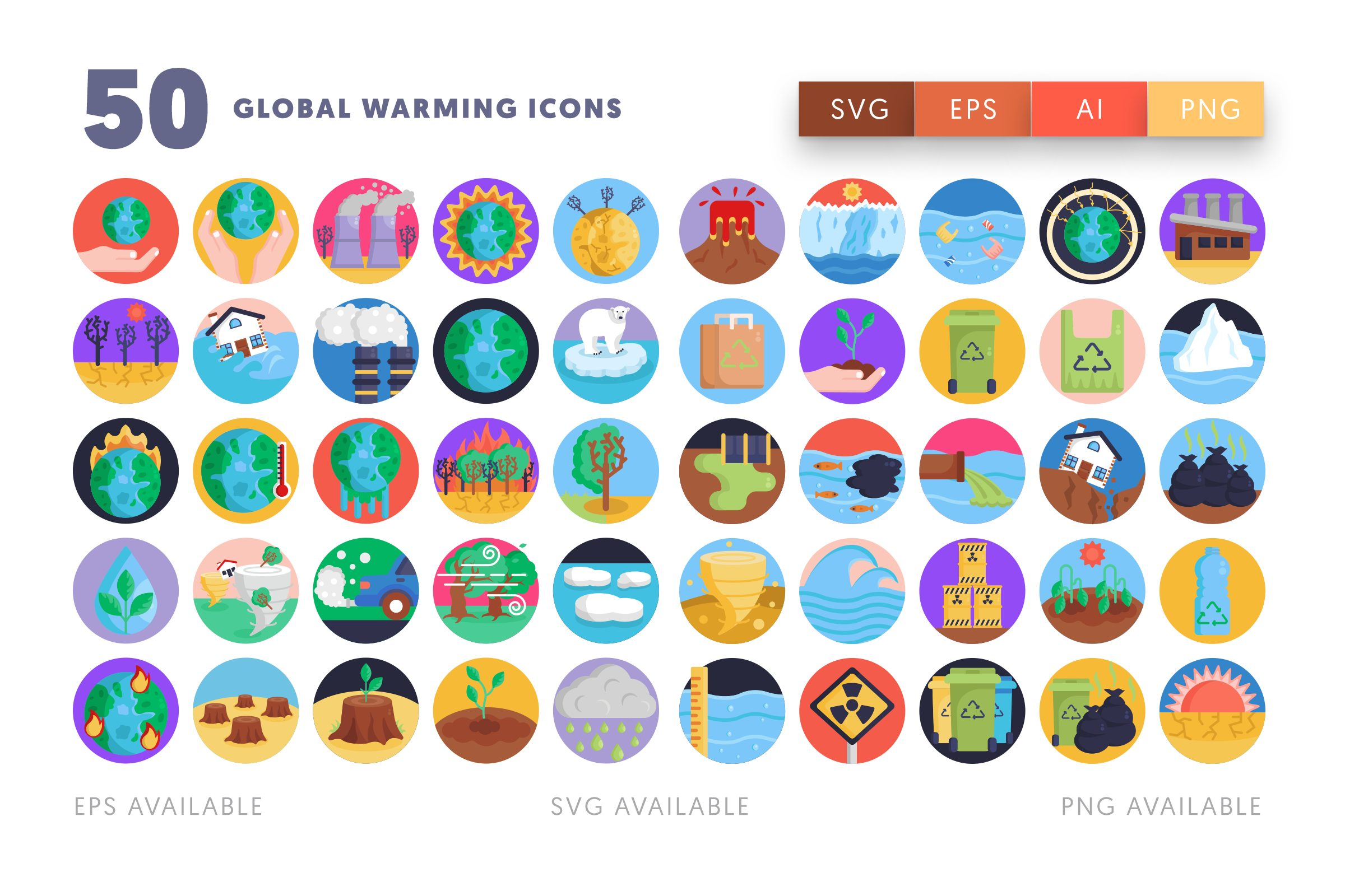 Global Warming icons png/svg/eps