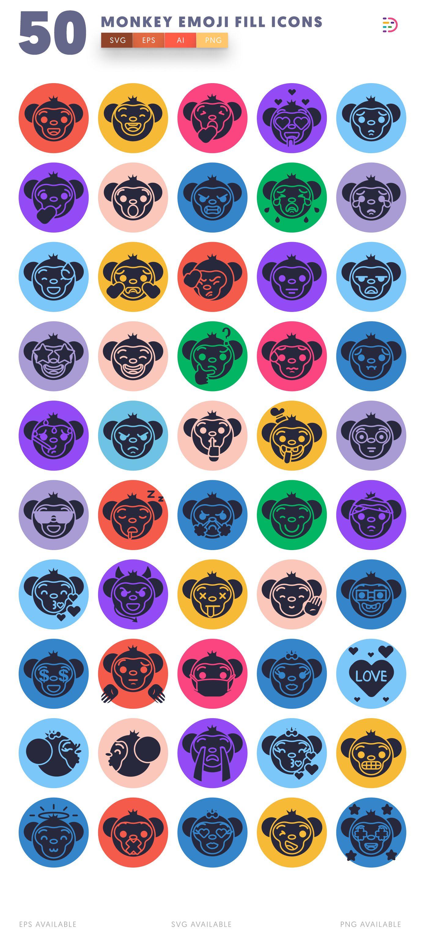 Monkey Emoji Fill icon pack